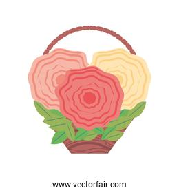 bunch of flowers basket in cartoon style white background