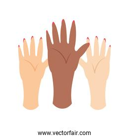 womens day, diverse female hands in cartoon style