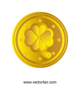 happy st patricks day gold coins treasure icon detailed style