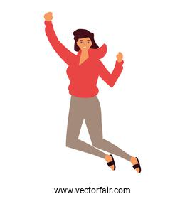 young woman celebrating jumping white background