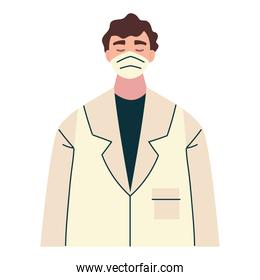 thank you, doctor with medical mask and coat character