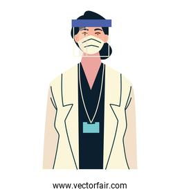 thank you, female doctor with face shield mask