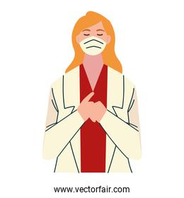 thank you, woman doctor character with face mask
