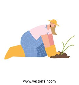 farm and agriculture female farmer planting in soil
