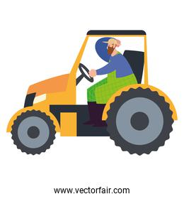 farm and agriculture farmer working with tractor machine