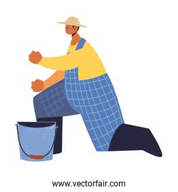 farm and agriculture farmer working with bucket