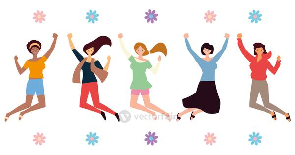 womens day, happy group female character celebrating