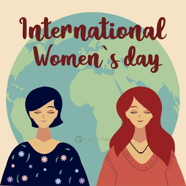 womens day, portrait female characters and world in cartoon style