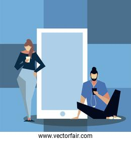 woman and man are standing near big smartphone and using mobile