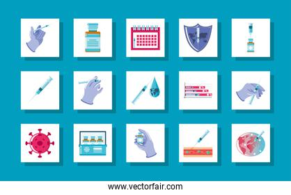 world vaccine icons vaccination syringe doctor calendar virus covid 19