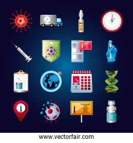 world vaccine covid 19 coronavirus viral treatment syringe shield calendar molecule icons