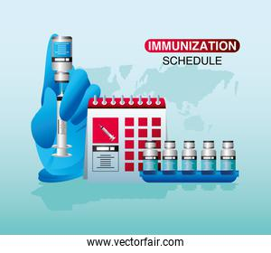 world vaccine immunization schedule hand with syringe vials covid 19 coronavirus