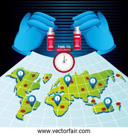 world vaccine time to vaccinate, map and hands with vial covid 19 coronavirus