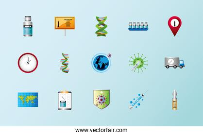 world vaccine covid 19 coronavirus vial molecule clock shield truck icons