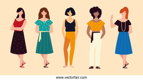 diverse group women female characters standing
