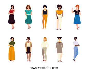 group women female characters different nationalities culture