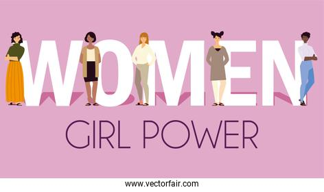 women girl power, female characters with lettering
