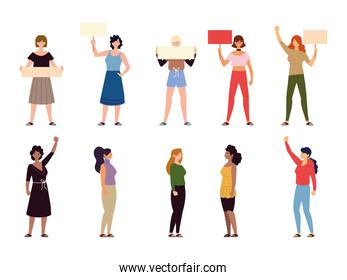 diverse cartoon women standing together and holding a placard