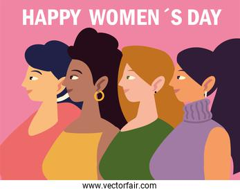 happy womens day, portrait cartoon female characters