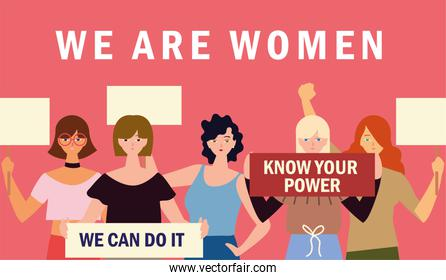 we are women, group young female characters with placard
