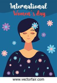 international womens day, portrait cartoon woman with flowers card