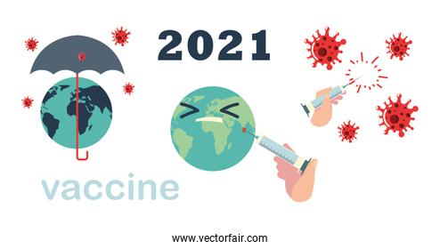 vaccine 2021 world campaign protection covid 19 syringe and vial