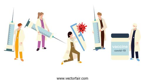 doctors with vaccine and syringes for coronavirus covid 19 protection