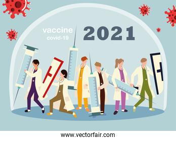 medical staff work hard to fight covid 19, vaccine