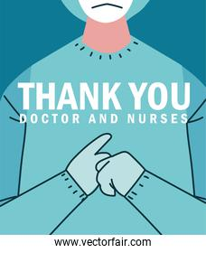 thank you doctor and nurse, protective suit gloves and mask design with text