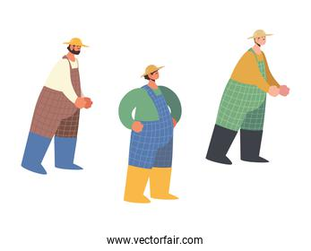 farm and agriculture, farmer male characters with overalls and hat