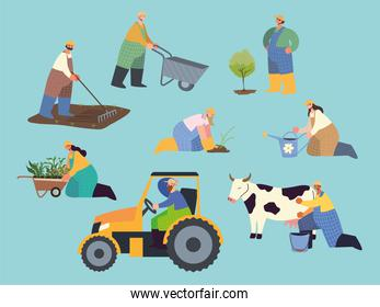 farm and agriculture farmer people working and planting