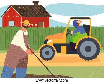 farm and agriculture farmer worker in tractor and planting