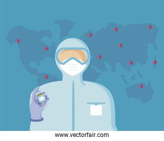 world vaccine, medical staff with protective suit and vial, coronavirus map