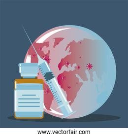 syringe of vaccine and vial medicine planet, protection against covid 19