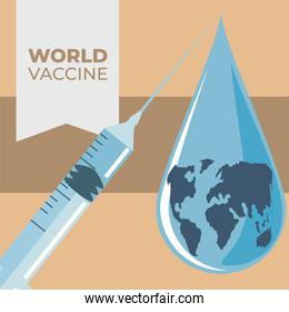 world vaccine, syringe planet drop prevention against covid 19