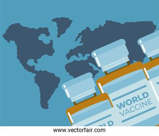 world covid 19 vaccine vials and map background