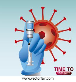 hand medical with syringe needle and vial, world vaccine