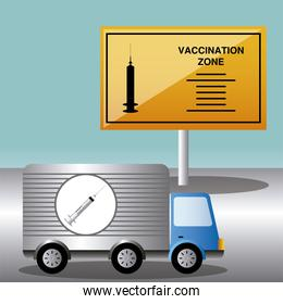 world vaccine covid 19 coronavirus truck and vaccination zone