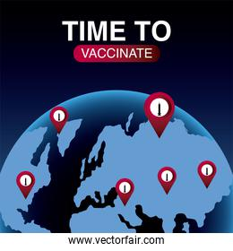 world vaccine, time to vaccinate world location pointer, protection against covid 19
