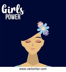 womens day, cute face woman with flower in hair in cartoon style