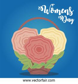 womens day, bunch of flowers basket in cartoon style