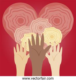 womens day, diverse hands up and flowers inside heart love in cartoon