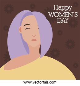 womens day, young woman with purple hair in cartoon