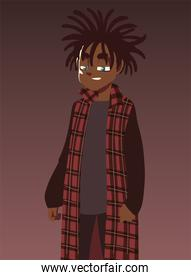 boy with long dreadlocks fashionable clothes, young culture
