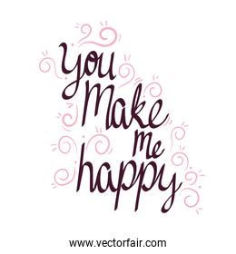 you make me happy lettering card with branches