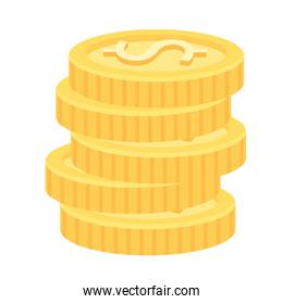 pile coins money dollars icons
