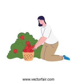 farmer female cultivating tomatoes avatar character