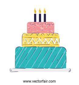 sweet cake with candles birthday icon