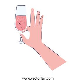 hand with wine cup birthday icon