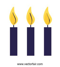 birthday candles fire isolated icon